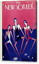 New Yorker Magazine Cover Of People Swimming Acrylic Print by H O Hofman