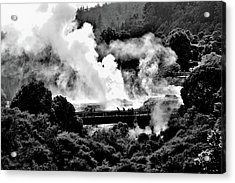 New Zealand - Figures Against Hot-steam - Black And White Acrylic Print