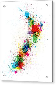 New Zealand Paint Splashes Map Acrylic Print by Michael Tompsett