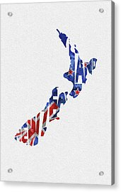 New Zealand Typographic Map Flag Acrylic Print