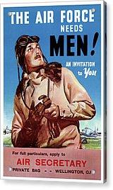 New Zealand Vintage Poster Restored Acrylic Print