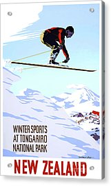 New Zealand Winter Sports Vintage Travel Poster Acrylic Print