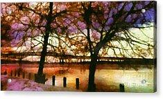 Newburgh Beacon Bridge Purple Skies Acrylic Print by Janine Riley