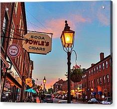 Newburyport Ma High Street Lanterns At Sunset Fowle's Acrylic Print