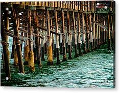 Newport Beach Pier Close Up Acrylic Print by Mariola Bitner