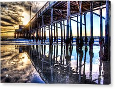 Acrylic Print featuring the photograph Newport Beach Pier - Reflections by Jim Carrell