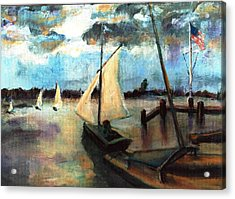 Newport Moonlight Sail Acrylic Print by Randy Sprout