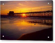 Newport Pier Sunset Acrylic Print by Eric Foltz