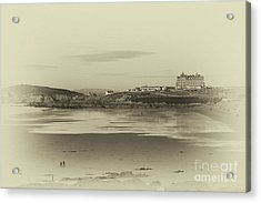 Newquay With Old Watercolor Effect  Acrylic Print by Nicholas Burningham