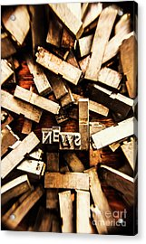 News In Press Typeset Acrylic Print by Jorgo Photography - Wall Art Gallery