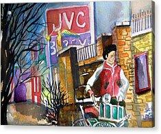 Newspaper Boy Acrylic Print by Mindy Newman