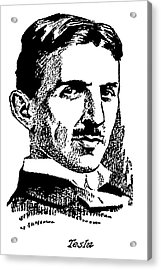 Acrylic Print featuring the digital art Newspaper Nikola Tesla  by Daniel Hagerman