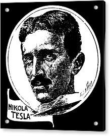 Acrylic Print featuring the digital art Newspaper Tesla 2 by Daniel Hagerman