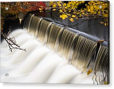 Newton Upper Falls Autumn Waterfall Acrylic Print by Toby McGuire