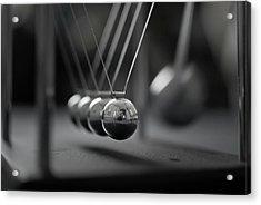 Newton's Cradle In Motion - Metallic Balls Acrylic Print by N.J. Simrick