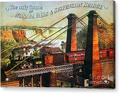 Niagara Falls Bridge, 1876 Acrylic Print by Granger