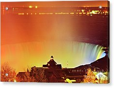 Acrylic Print featuring the photograph Niagara Falls Illumination Light Show by Charline Xia