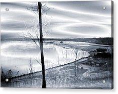 Niagara Falls In Silver Acrylic Print by Abstract Angel Artist Stephen K