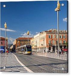 Nice Tramway At Place Massena Acrylic Print by Elena Elisseeva