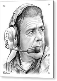 Nick Saban Acrylic Print by Greg Joens