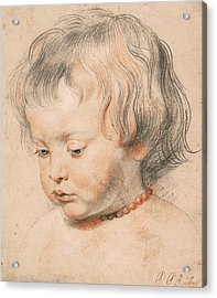 Nicolaas Rubens Wearing A Coral Neckless Acrylic Print