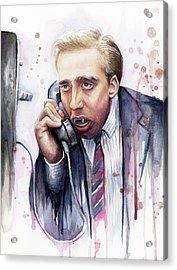 Nicolas Cage A Vampire's Kiss Watercolor Art Acrylic Print