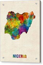 Nigeria Watercolor Map Acrylic Print