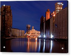 Night At Ohio Street Bridge Acrylic Print