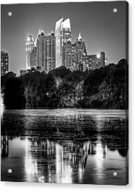 Night Atlanta.piedmont Park Lake. Acrylic Print by Anna Rumiantseva
