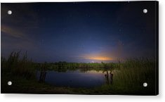 Night Brush Fire In The Everglades Acrylic Print by Mark Andrew Thomas
