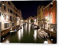 Night Canal Acrylic Print by Marco Missiaja