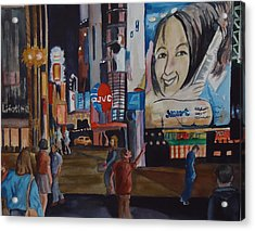 Night In Time Square Acrylic Print
