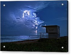 Night Lightning Under Full Moon Over Hobe Sound Beach, Florida Acrylic Print