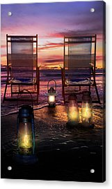 Acrylic Print featuring the photograph Night Lights At Sunset by Debra and Dave Vanderlaan