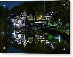 Night Lights Of Boathouse Row Acrylic Print by Frozen in Time Fine Art Photography
