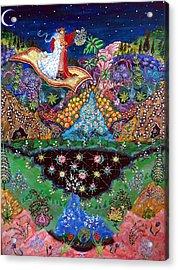 Night On The Magic Carpet Acrylic Print by Caroline  Urbania Naeem