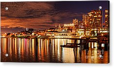 Night Panorama Of Fisherman's Wharf And Ghirardelli Square - San Francisco California Acrylic Print by Silvio Ligutti