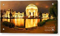Night Panorama Of Palace Of Fine Arts Theater In Marina District - San Francisco California Acrylic Print by Silvio Ligutti