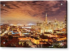 Night Panorama Of San Francisco And Oak Area Bridge From Ina Coolbrith Park - California Acrylic Print