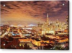 Night Panorama Of San Francisco And Oak Area Bridge From Ina Coolbrith Park - California Acrylic Print by Silvio Ligutti