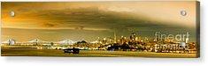 Night Panorama Of San Francisco Skyline With Oakland Bay Bridge - San Francisco California Acrylic Print by Silvio Ligutti