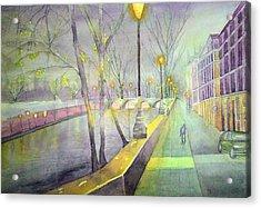 Night Paris Street   Acrylic Print by Stanley Sum wai lee