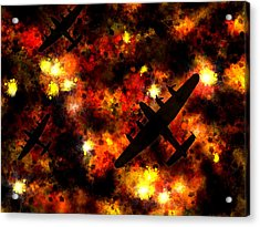 Night Raid - Lancaster Bomber Acrylic Print by Michael Tompsett
