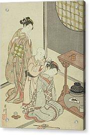 Night Rain Of The Tea Stand Acrylic Print by Suzuki Harunobu