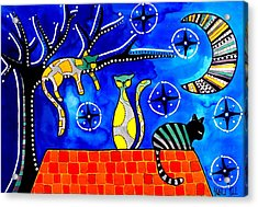 Night Shift - Cat Art By Dora Hathazi Mendes Acrylic Print by Dora Hathazi Mendes