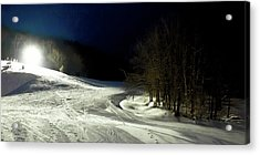 Night Skiing At Mccauley Mountain Acrylic Print by David Patterson