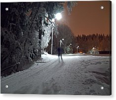 Acrylic Print featuring the photograph Night Skiing by Sami Tiainen