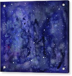 Night Sky Watercolor Galaxy Stars Acrylic Print by Olga Shvartsur