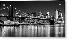 Night Skyline Manhattan Brooklyn Bridge Bw Acrylic Print by Melanie Viola