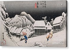 Night Snow Acrylic Print by Hiroshige